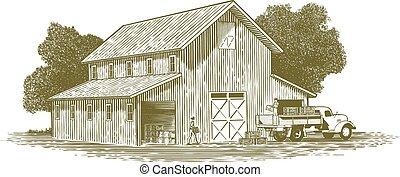 woodcut, fattoria, lavoro, scena