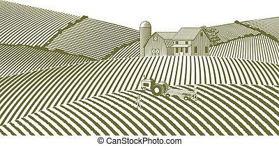 woodcut, fazenda, sem, céu