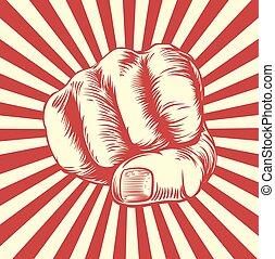 Woodcut Fist Hand