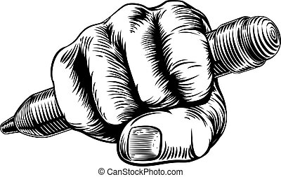 Woodcut Fist Hand Holding Pencil