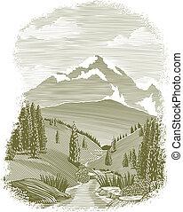 woodcut, fiume, scena, vignette