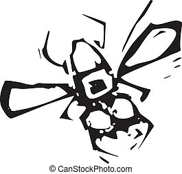 Woodcut Fly - Woodcut image of a simple house fly