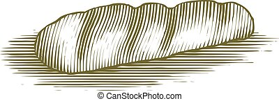 Woodcut French Bread Loaf - Woodcut French loaf of bread.