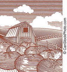 Woodcut Garden Scene - Woodcut style illustration of a farm...