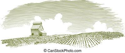 Woodcut-style illustration of a grain elevator in a landscape scene.