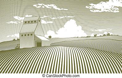 Woodcut Grain Elevator - Woodcut style illustration of a ...