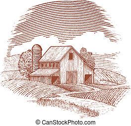 woodcut, granero