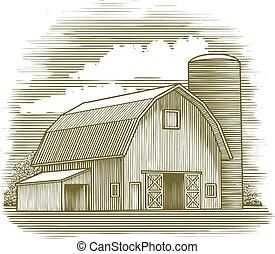 woodcut, granero, viejo