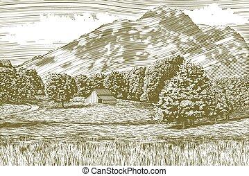 woodcut, granero, y, paisaje de montaña