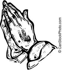 Woodcut Hands in Prayer