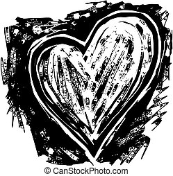 Woodcut Heart - A black and white woodcut style drawing of a...
