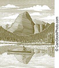 woodcut, hombre, y, canoa