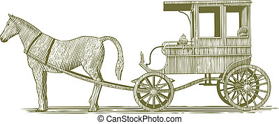 Woodcut Horse and Buggy - Woodcut-style illustration of a...