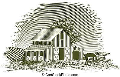 Woodcut Horse Barn - Woodcut-style illustration of a barn ...