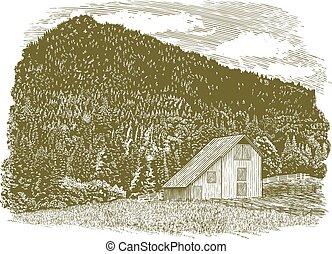 Woodcut Idaho Barn