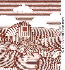 woodcut, jardín, escena