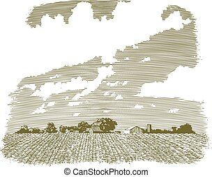 Woodcut-style illustration of a Kansas farm and field.