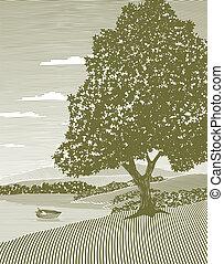 woodcut, lac, paysage