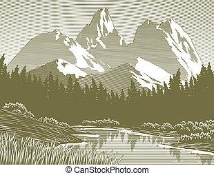 woodcut, lago montaña, escena