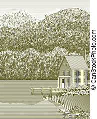 Woodcut Lake House - Woodcut style illustration of a lake...