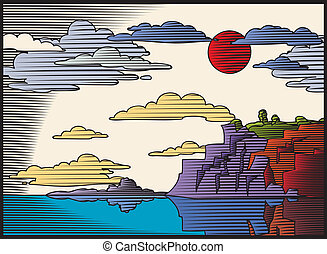 Woodcut landscape - Woodcut styled landscape with mountains,...
