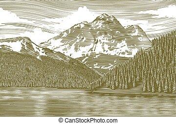 woodcut, landskab, hos, bjerg