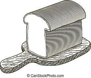 Woodcut Loaf of Bread - Woodcut-style illustration of a loaf...