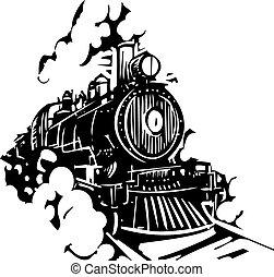 Woodcut Locomotive - Woodcut style image of a railroad...