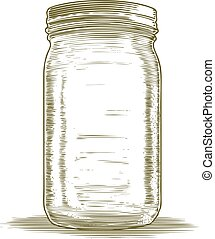 Woodcut Mason Jar
