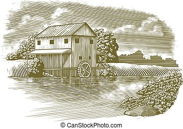 Woodcut Mill on River - Woodcut-style illustration of a mill...