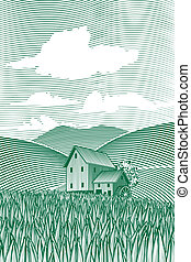 Woodcut Mill Scene - Woodcut style illustration of a country...