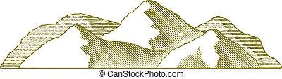 woodcut, montagne