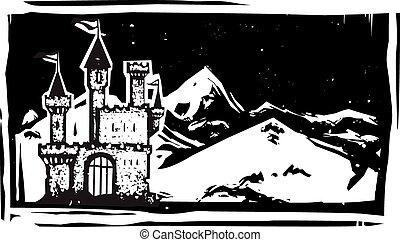 woodcut, montanha, castelo