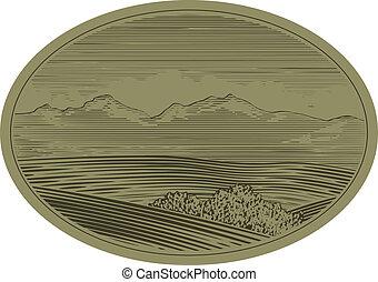 woodcut, montanha, cena
