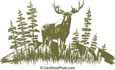 Woodcut Moose Design