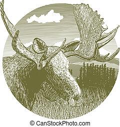 Woodcut Moose Scene