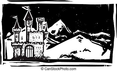 Woodcut Mountain Castle - Woodcut style image of a fairy...