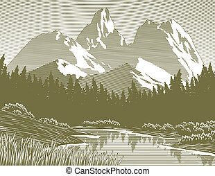 Woodcut Mountain Lake Scene - Woodcut style illustration of...