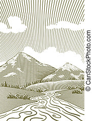 Woodcut Mountain Stream - Woodcut style illustration of a...