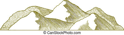 Woodcut Mountain - Woodcut style illustration of a mountain...