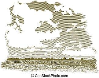 woodcut, nuage, scène