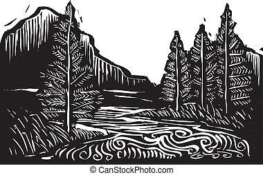 woodcut, paysage