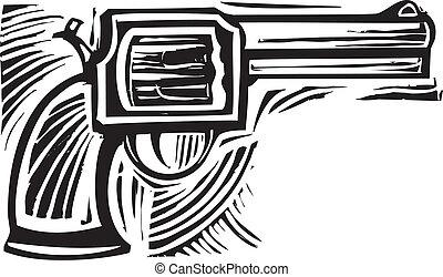 Woodcut Pistol - Woodcut style image of a pistol revolver.