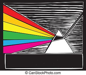 Woodcut Prism - prism breaking light into a rainbow.