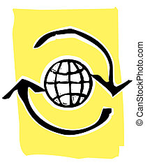 Woodcut recycle image #3 - Web Globe in a circle of recycle...