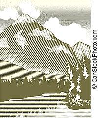 woodcut, regione selvaggia, lago