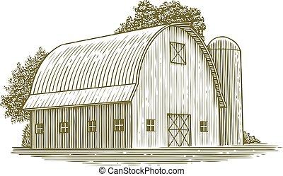 Woodcut Round Roof Barn - Woodcut illustration of a barn ...
