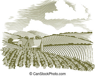 Woodcut style illustration of a farm house and field.