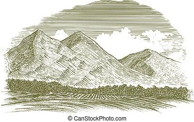 woodcut, rural, montanha, cena