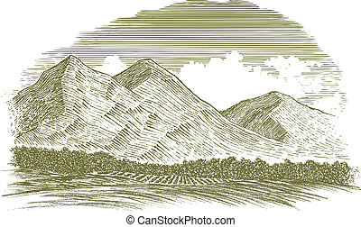 Woodcut Rural Mountain Scene - Woodcut-style illustration of...